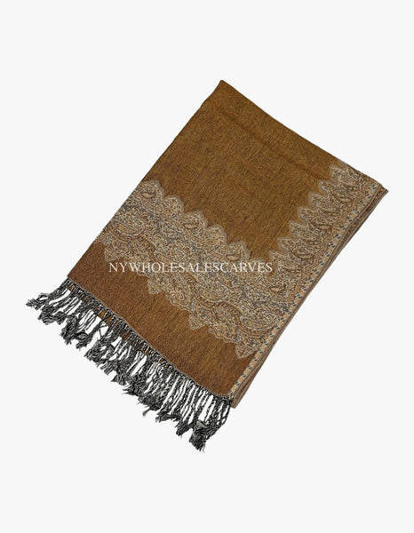 PL0313 Dark Gold Border Pattern Pashmina