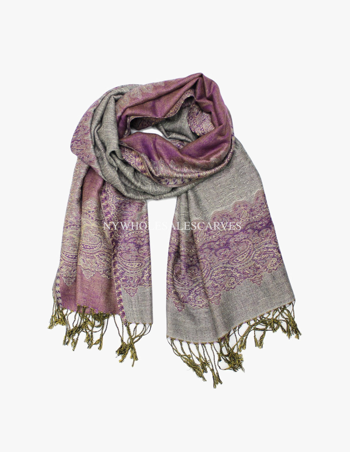 PL0316 Grey Purple Border Pattern Pashmina
