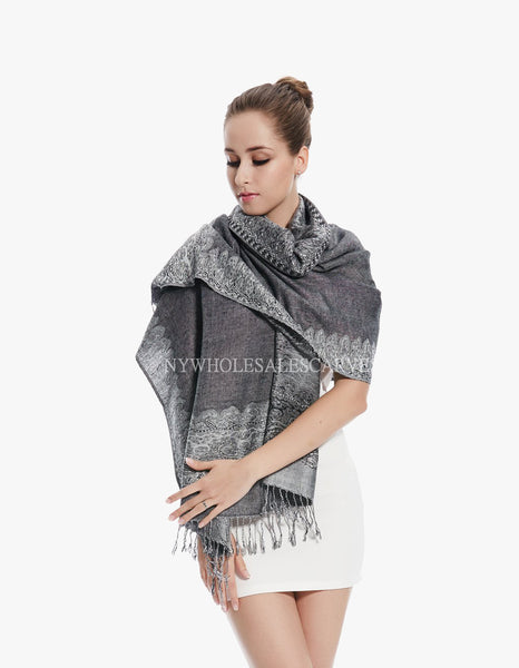 PL0322 Black Grey Border Pattern Pashmina