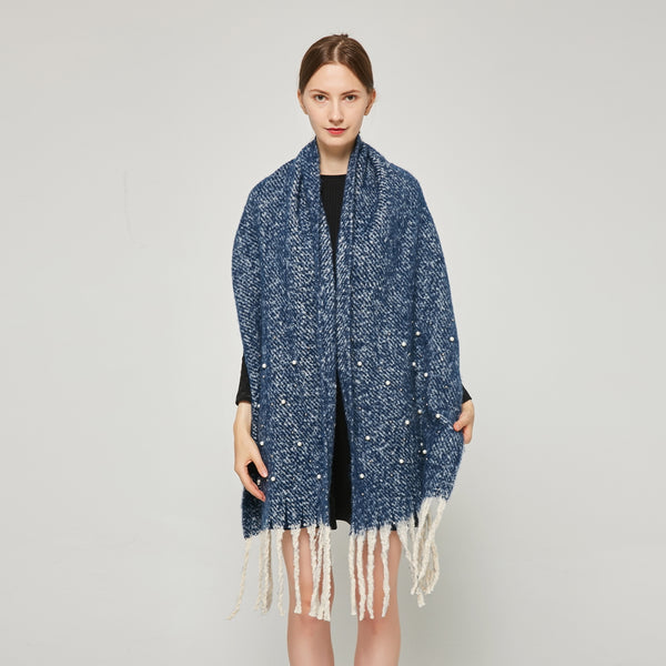 Knitted Mohair Shawl with Pearls SF23143