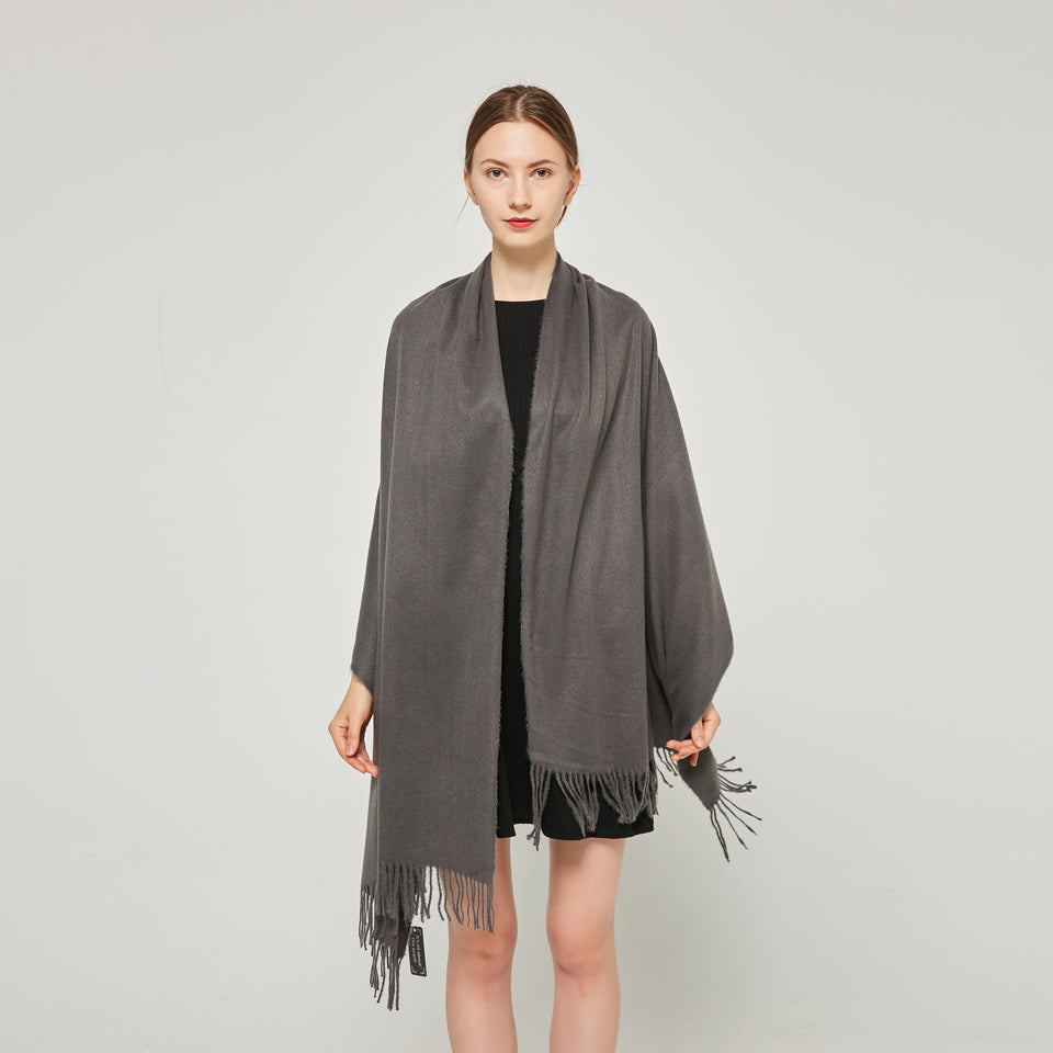 Cashmere Touch Solid Shawl FW2314514 Heather Grey