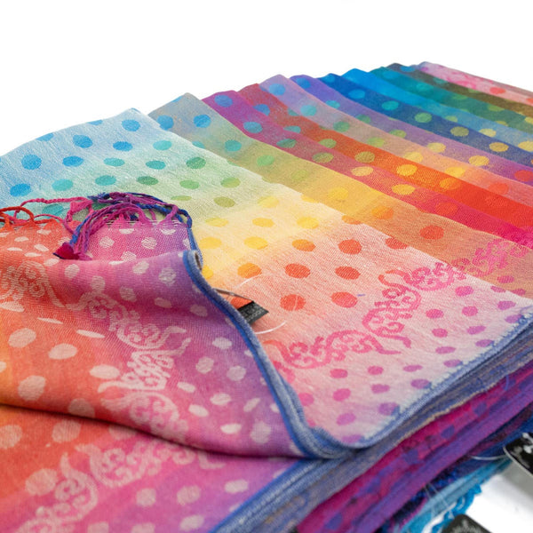 Polka Dot Rainbow Pashmina  FW549S Assorted Colors
