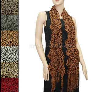 Leopard Print Wrinkle Scarf FW201154 Assorted Colors