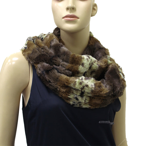 Leopard Faux Fur Infinity Scarf X12603 Assorted Colors