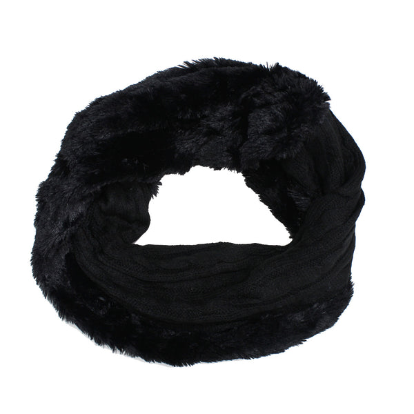 Knit Faux Fur Infinity Scarf X12606 Assorted Colors