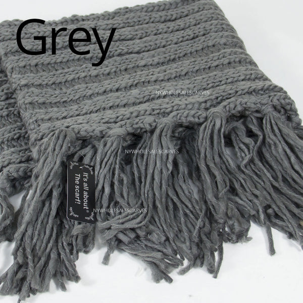 Luxe Cable Knit Long Tassel Infinity Scarf XG22106