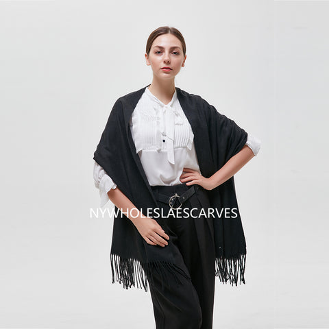 Solid Color Shawl  FW22122-4 Black