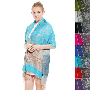 6300S  Two Tone Vintage Jacquard Paisley Pashmina Assorted Colors