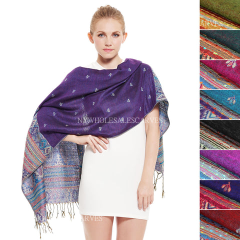 065S Tribal Border Reversible Bohemian Pashmina Assorted Colors