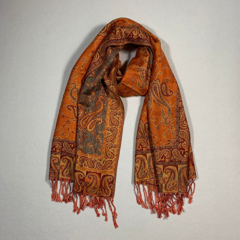 Gorgeous Paisley Pashmina FW2307 Orange