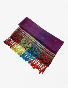 YZ6401   Rainbow Colorful  Pashmina  Shawl Purple