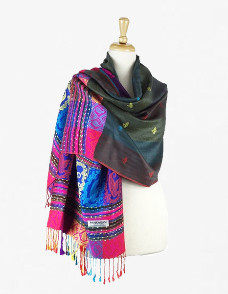 YZ6406 Rainbow Colorful  Pashmina  Shawl Turquoise