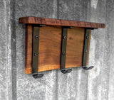 Rustic Walnut & Steel Coat Rack