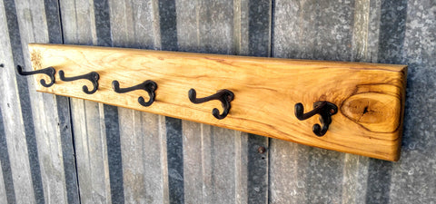 Hickory rustic coat rack