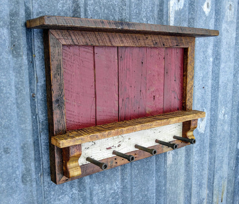 Rustic Barn Wood Red Entry Shelf