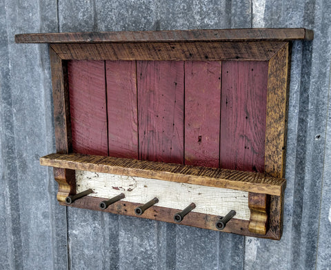 Barnwood Industrial Hook Coat Rack