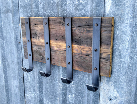 Barn Wood Industrial Hook Rack