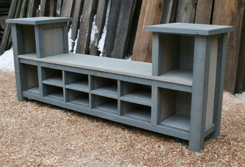 ×Custom Rustic Entry Bench 12 Cubbies and Industrial Entry Shelf for Mickey in WI - Final 50%