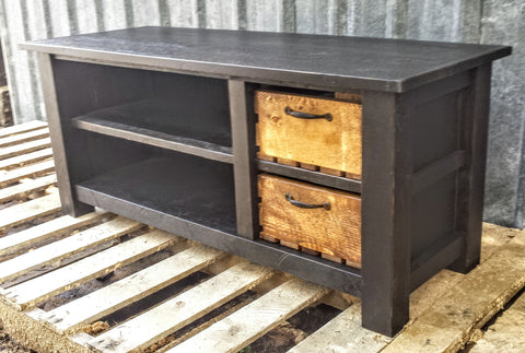Ebony Rustic Stacked Bench