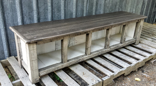 Entry Bench Rustic White Five Cubby Echo Peak Design