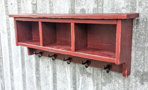Barn Red Rustic Shelf Cubby