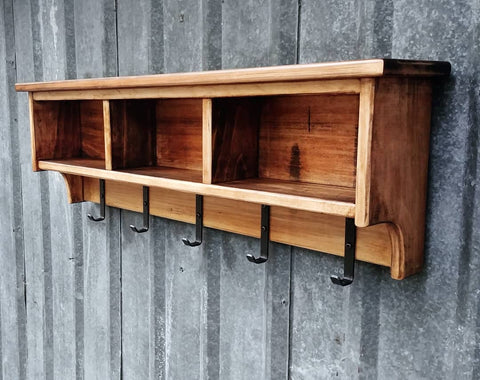Hardwood Rustic Shelf Cubby Rack