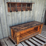 Reclaimed Barn Wood Bench and Hook Rack