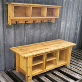 Farmhouse Bench and Shelf Cubby Set