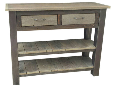 Industrial Reclaimed Barnwood & Steel Console Table