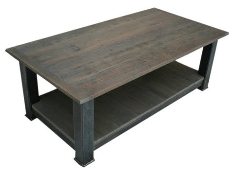 Industrial Reclaimed Barnwood & Steel Coffee Table