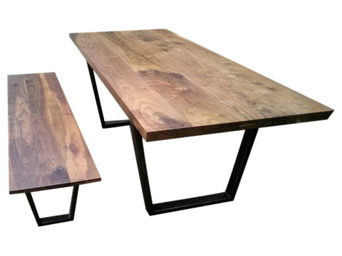 Modern Industrial Walnut Table