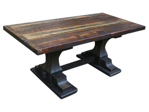 Reclaimed Pedestal Trestle Dining Table