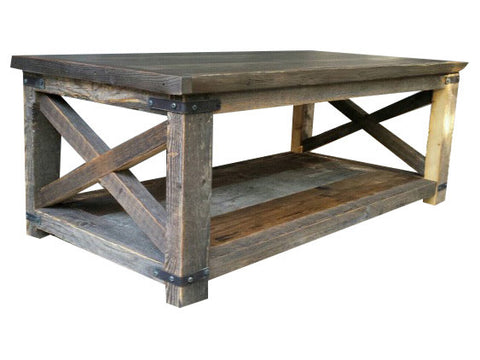 Rustic Industrial X Coffee Table