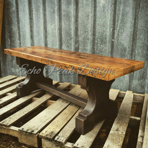 Farmhouse Pedestal Trestle Bench