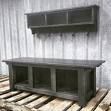 Rustic Farmhouse Bench and Shelf Cubby Set
