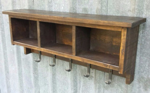 Rustic Industrial Shelf Cubby Coat Rack