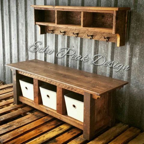 XX**RESERVED CUSTOM Bench and Shelf Cubby Set with Crates for Leslee**XX