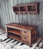 Rustic Double Stacked Bench and Shelf Cubby Set