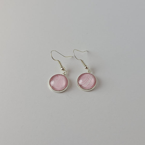 Pale Pink, White, and Glitter Earrings