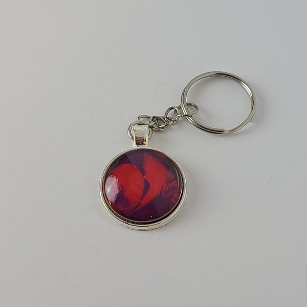Pink and Purple Round Key Chain
