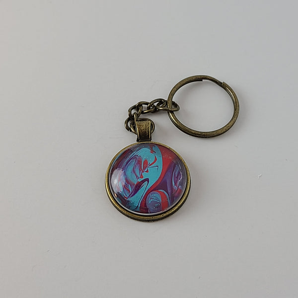 Blue, Pink, and Purple Round Key Chain
