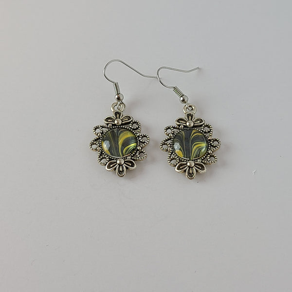 Black, White, and Yellow Earrings