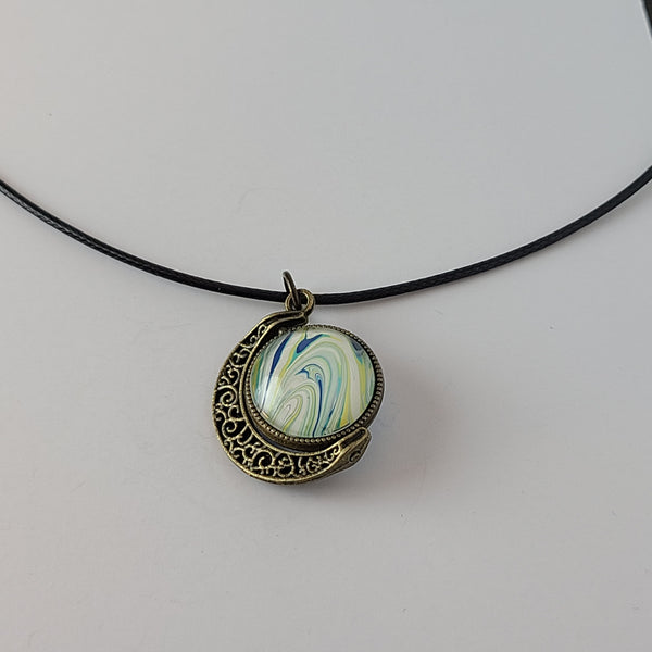 Blue, Green, and Yellow Small Double Pendant
