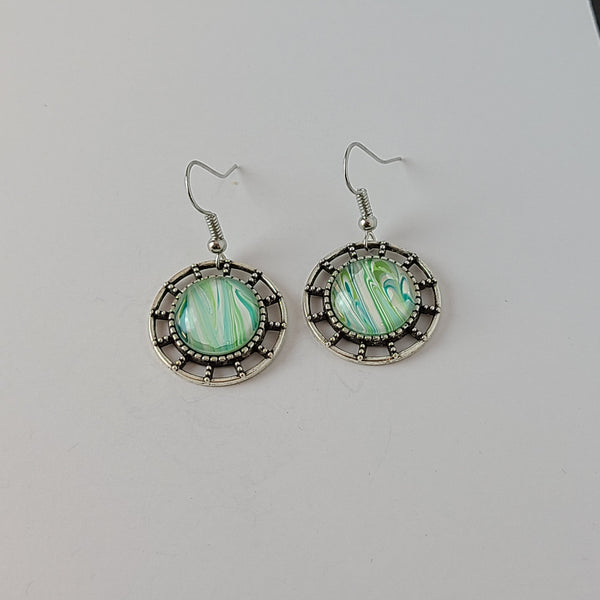 Light Green and White Earrings