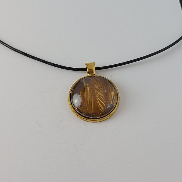 Brown and Gold Round Pendant