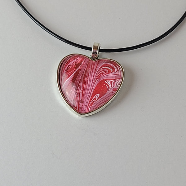 Red, Pink, and Glitter Heart-Shaped Pendant