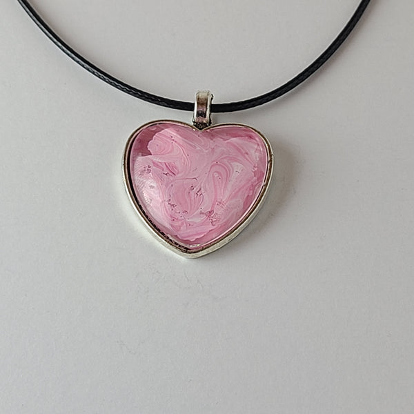 Pink and White Heart-Shaped Pendant