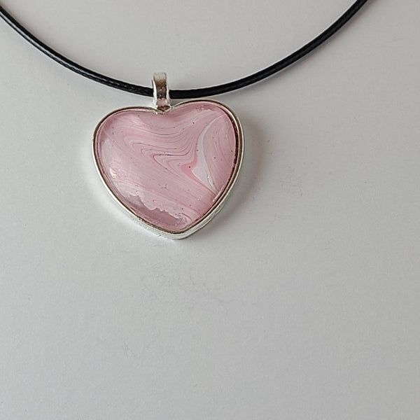 Pink, White, and Glitter Heart-Shaped Pendant