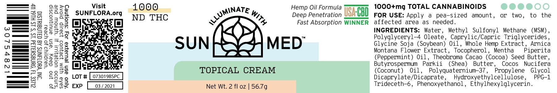 Broad Spectrum Topical Cream | 1000mg (2oz)