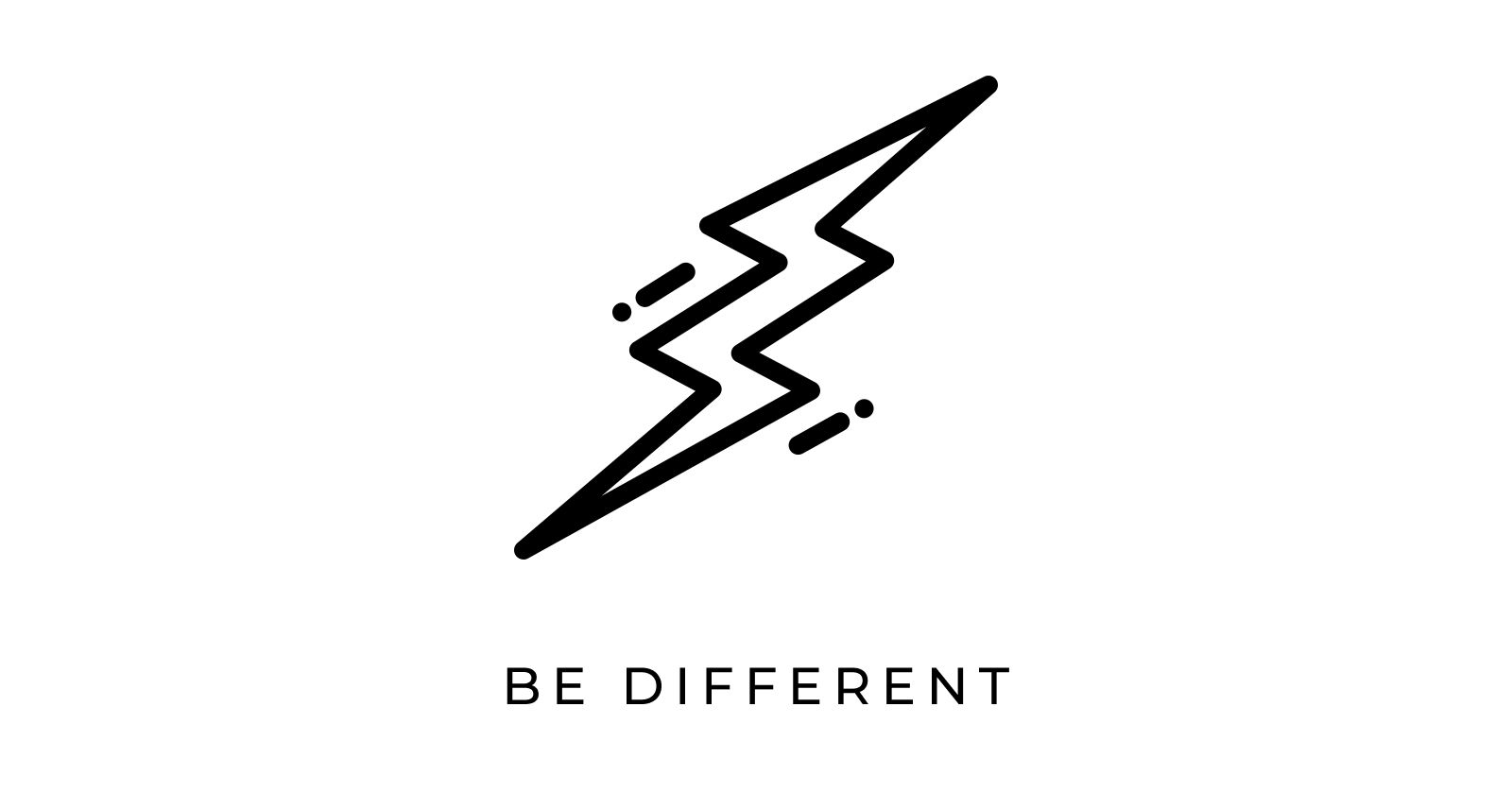 lightning bolt icon that says be different